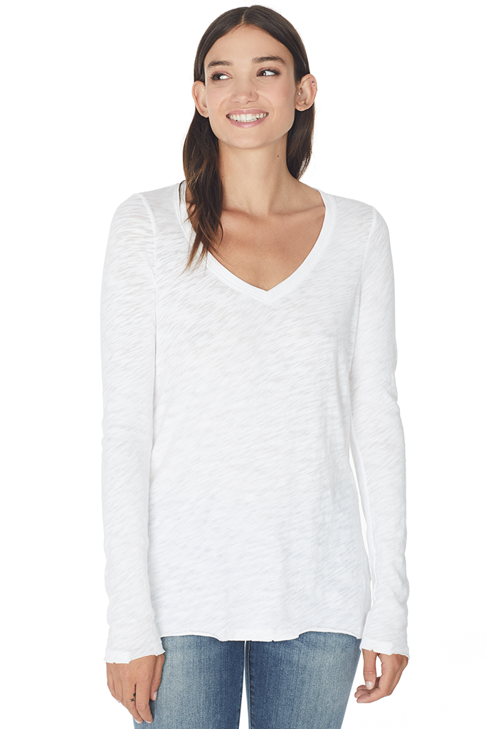 L/S V Neck Slub Tee (White)