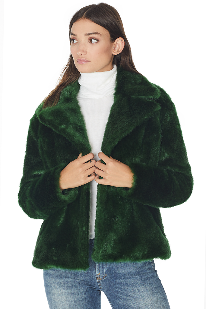 Notch Collar Faux Fur Coat (Green)