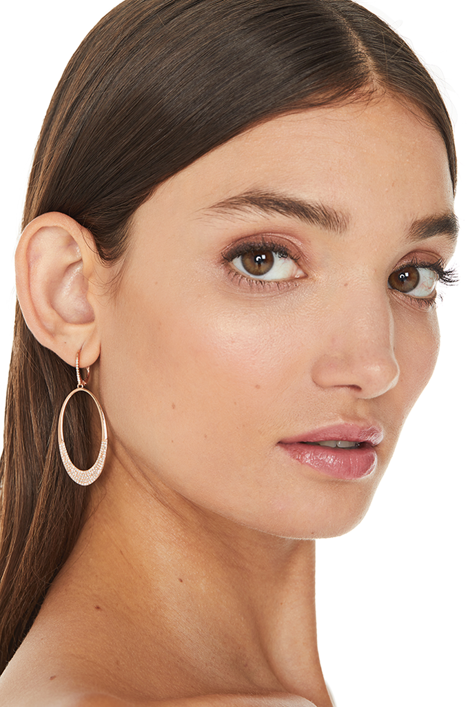 14K Rose Gold Oval Earrings