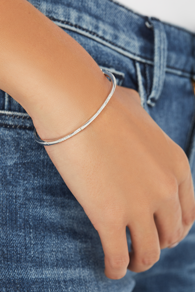 14K White Gold Classic Bangle