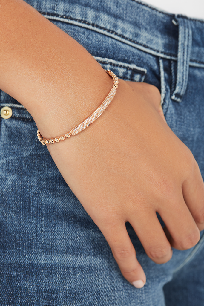 14K Rose Gold Beaded ID Bangle