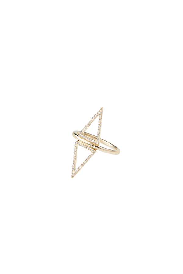 14K Yellow Gold 2 Triangle Ring