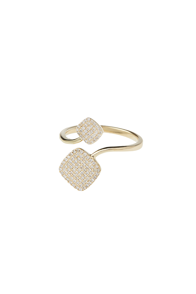 14K Yellow Gold Large/Small Square Ring