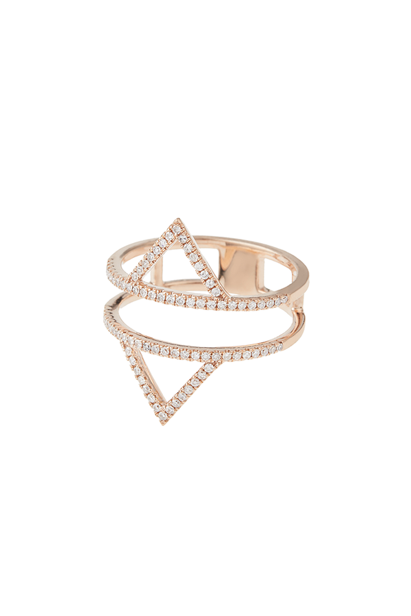 14K Rose Gold 2 Triangle Ring