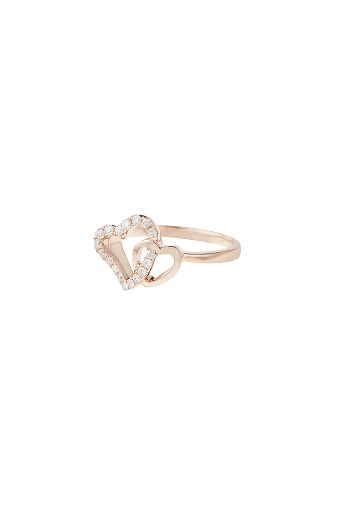 14K Rose Gold Large/Small Open Heart Ring