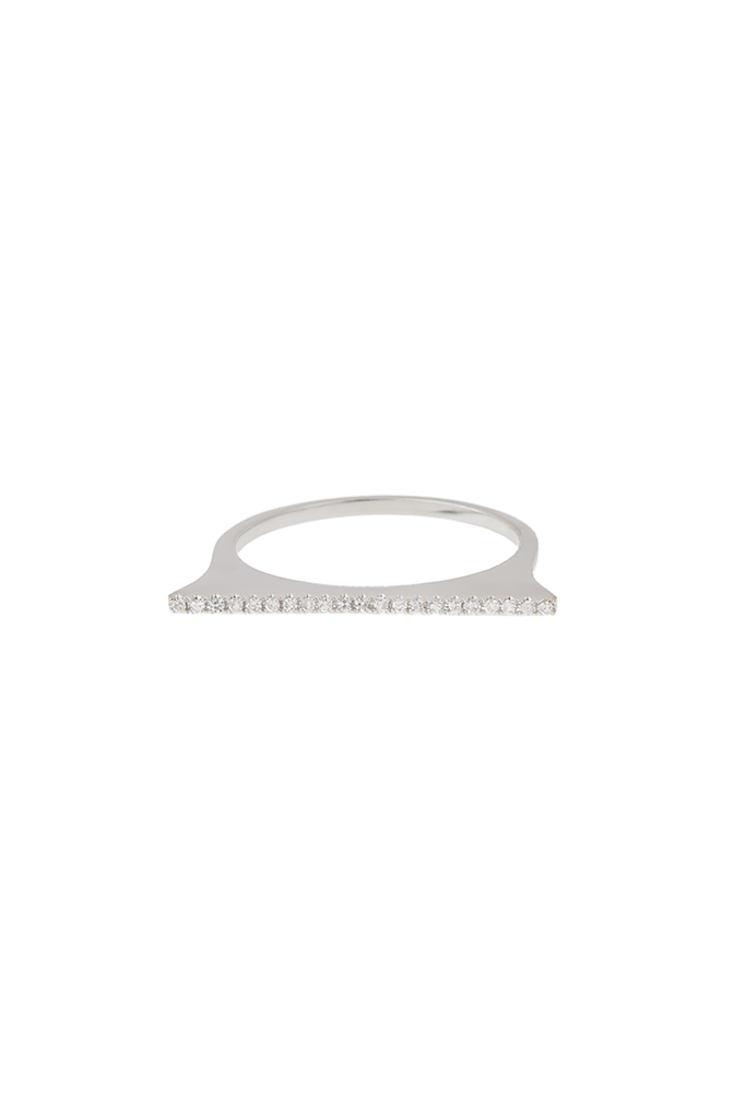14K White Gold Stackable Bar Ring