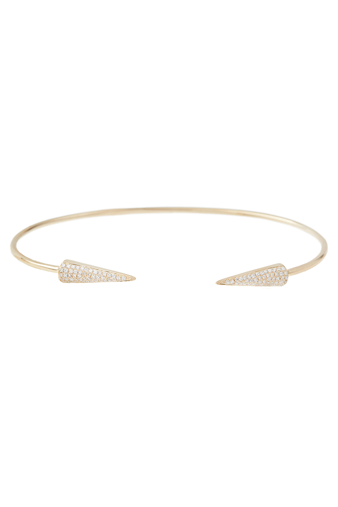 14K Yellow Gold Spike Cuff
