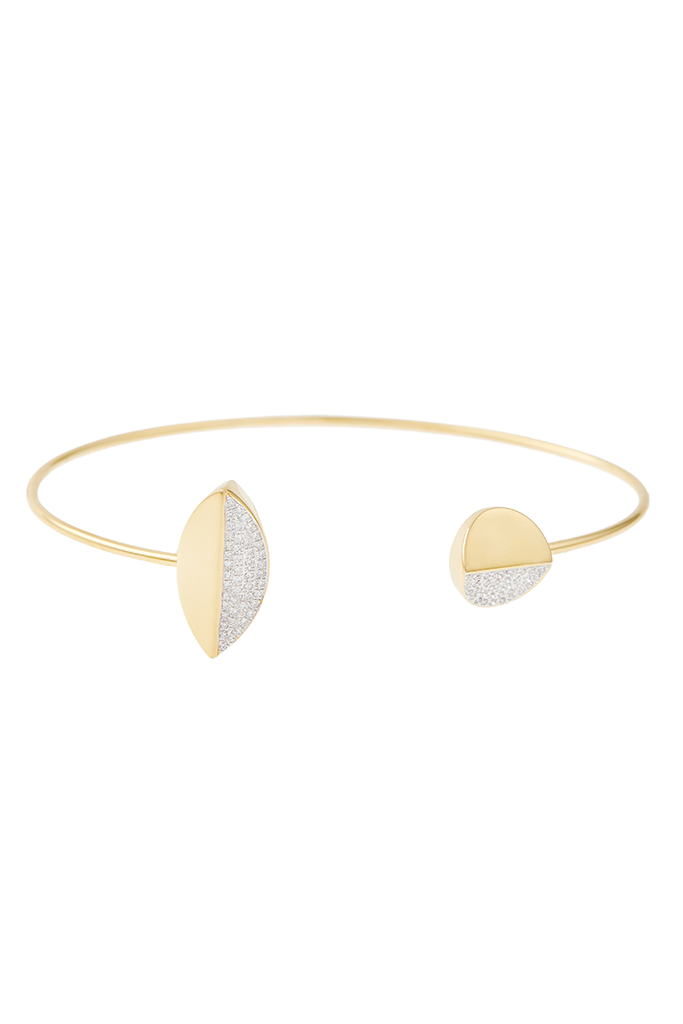 18K Yellow Gold Oval and Circle Bracelet