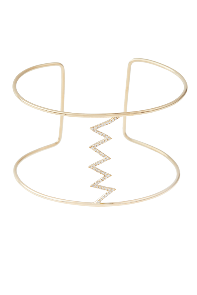 14K Yellow Gold Large Zig Zag Cuff
