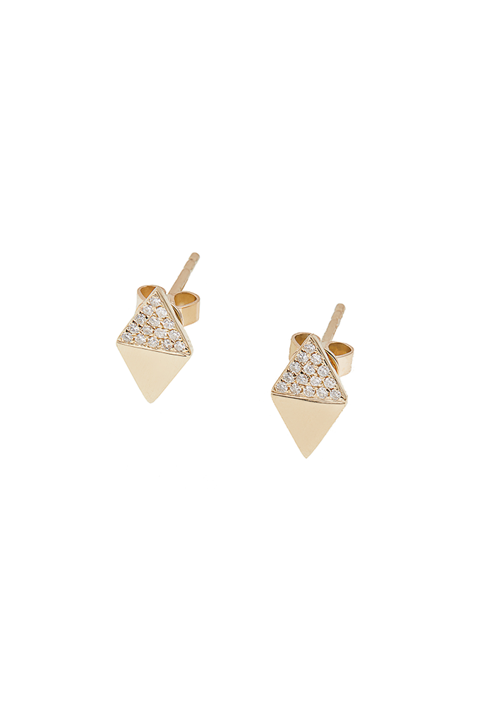 14K Yellow Gold Half Diamond Triangle Studs