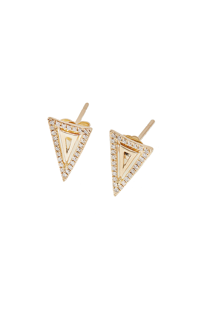 14K Yellow Gold Double Triangle Earrings