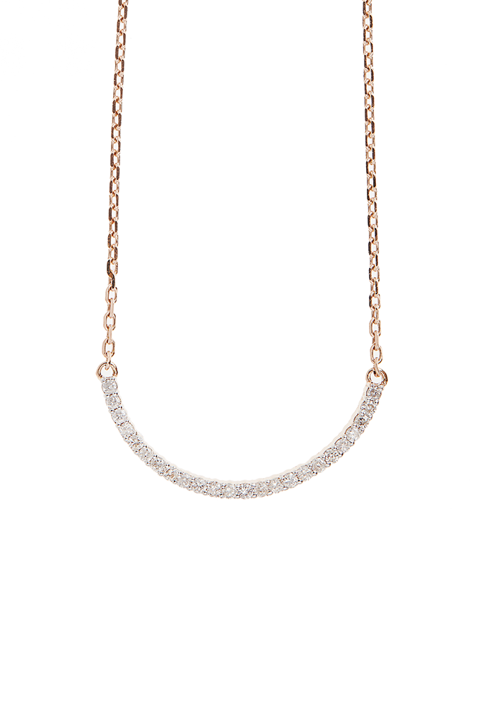 14K Rose Gold Crescent Necklace