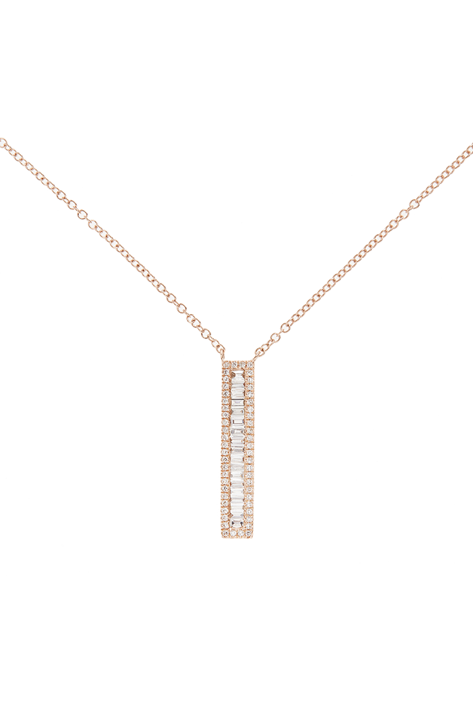 14K Rose Gold Narrow Rectangle Necklace