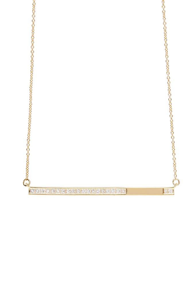 c263182dc091 Previous. 18K Yellow Gold Half Diamond Bar Necklace. 18K Yellow Gold Half Diamond  Bar Necklace