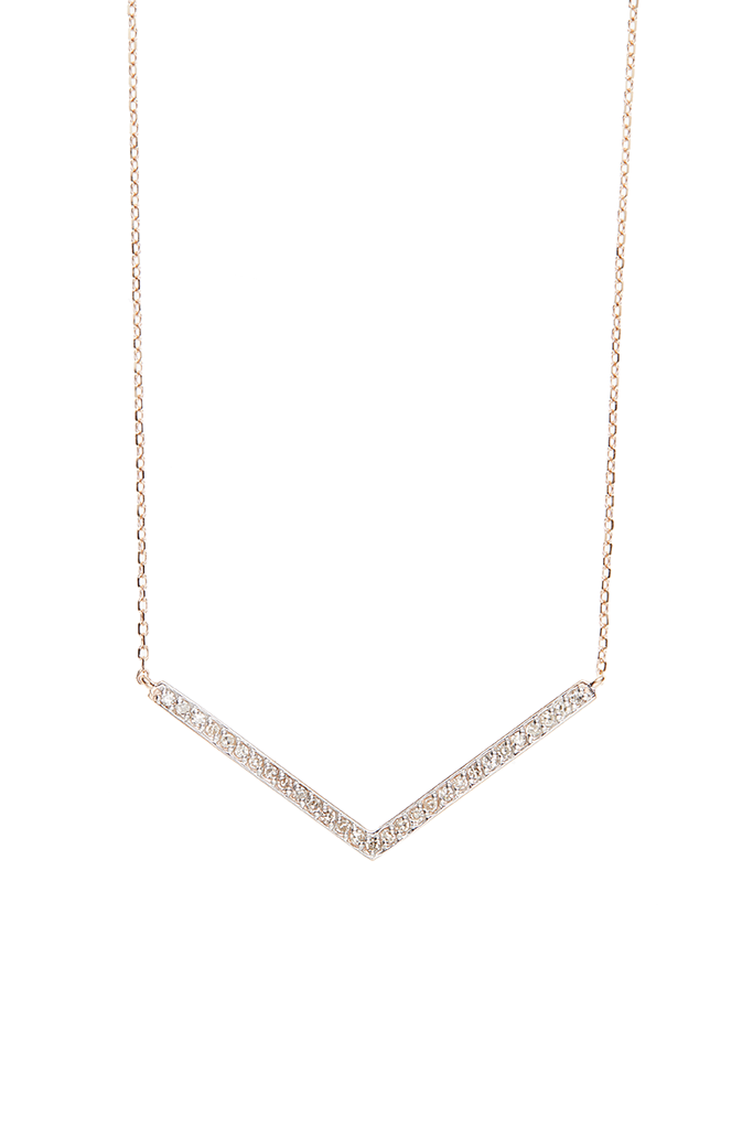 14K Rose Gold Large V Necklace