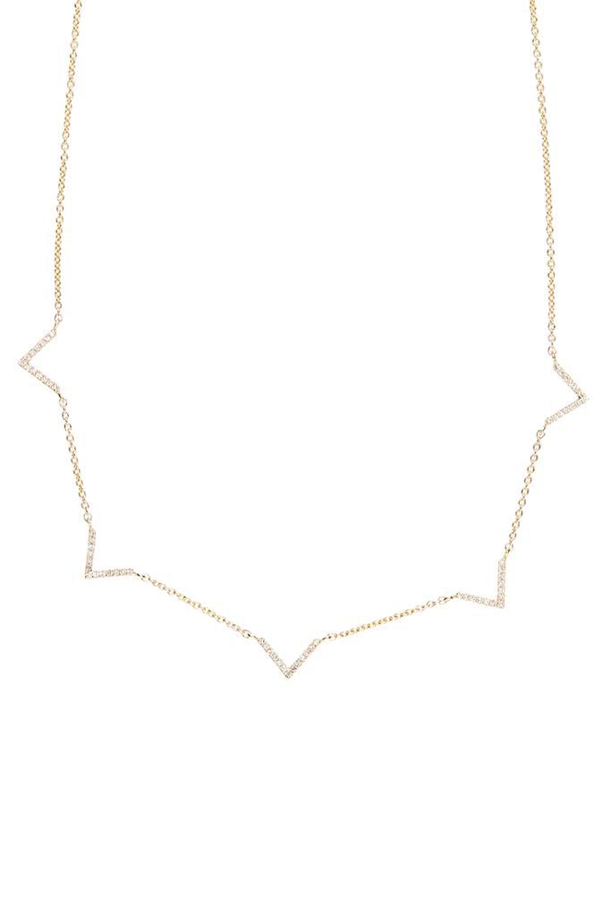 14K Yellow Gold 5 V Necklace