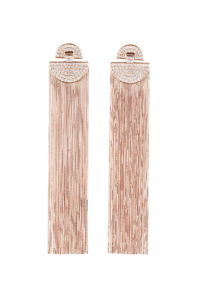 18K Rose Gold Stacked Half Circle Fringe Earrings
