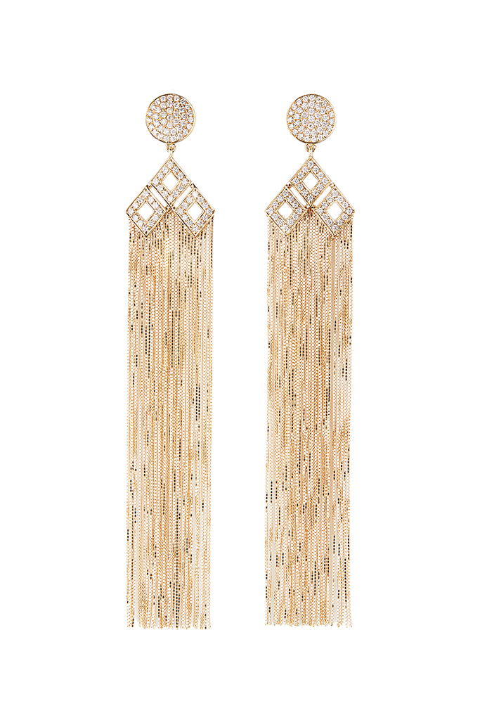 18K Yellow Gold Circle Fringe Earrings