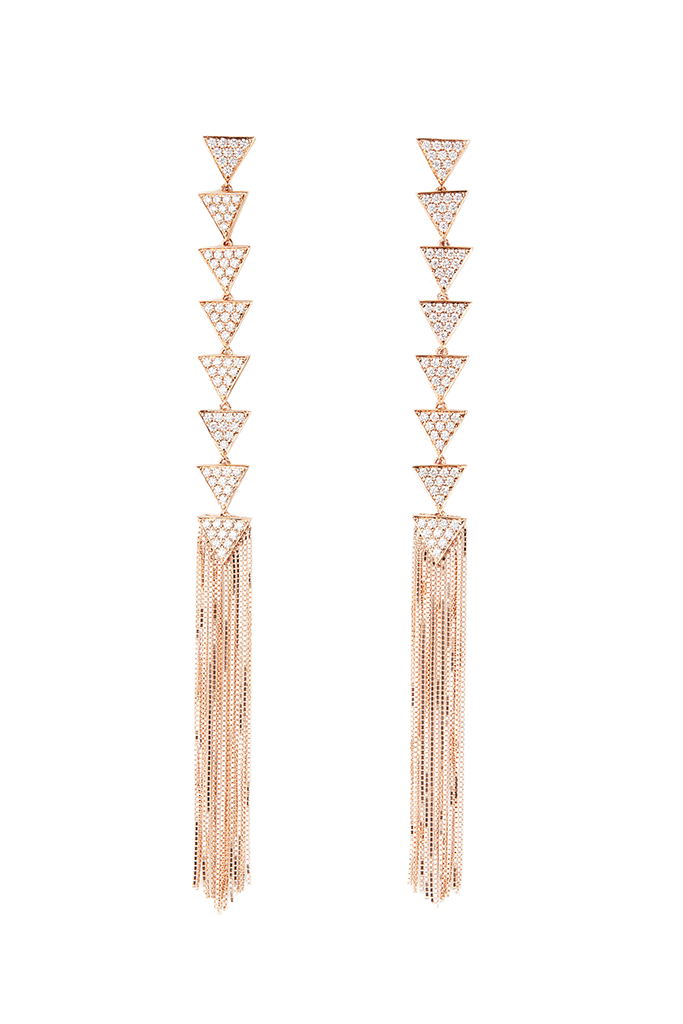 18K Rose Gold Triangle Layer Fringe Earrings