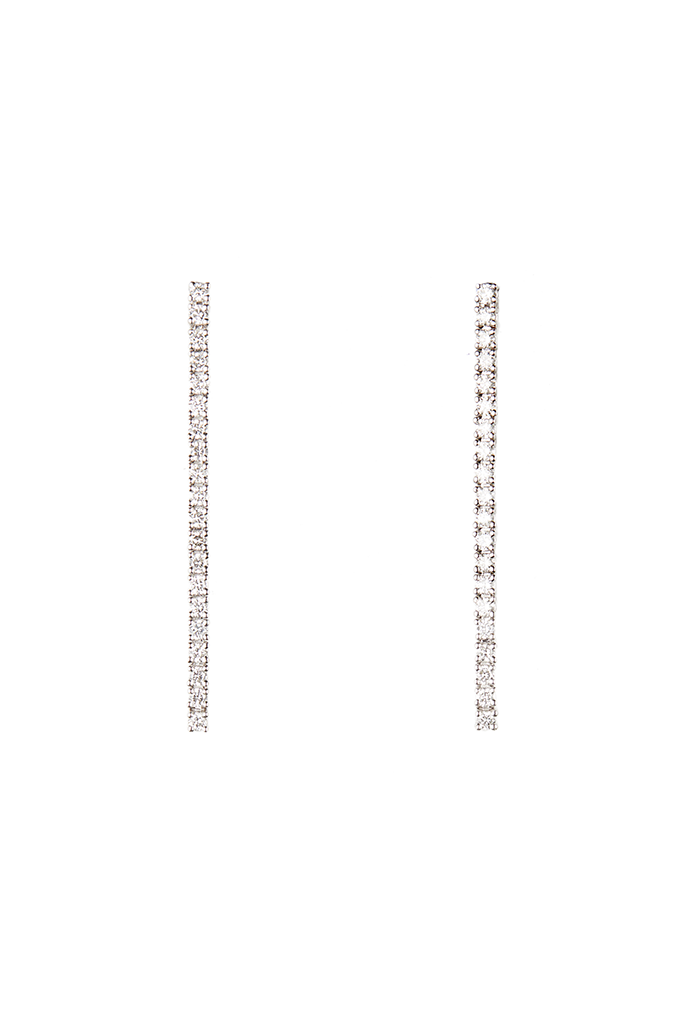 14K White Gold Tennis Drop Earrings