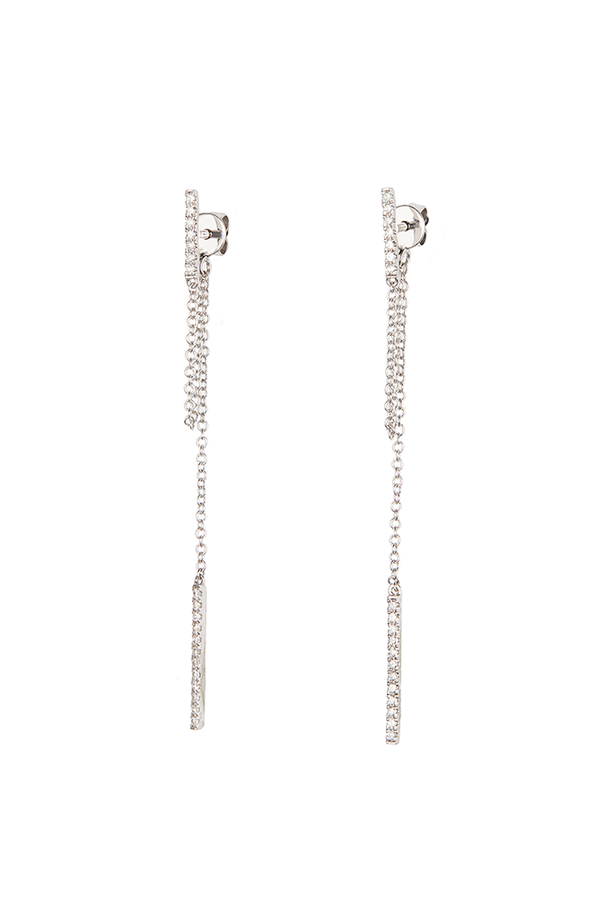 14K White Gold Chain/Bar Dangle Earrings