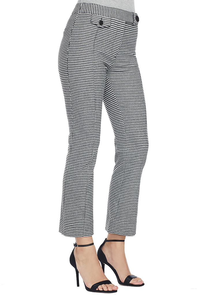 Cropped Flare Trouser w/ Tab (Black/White)