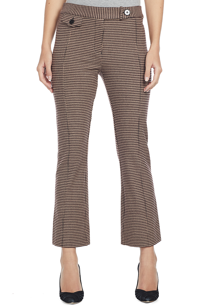 Cropped Flare Trouser w Tab (Burgundy)