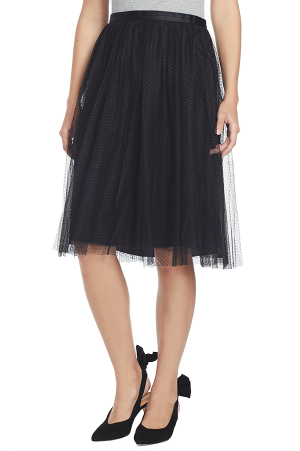 Dotted Tulle Midi Skirt