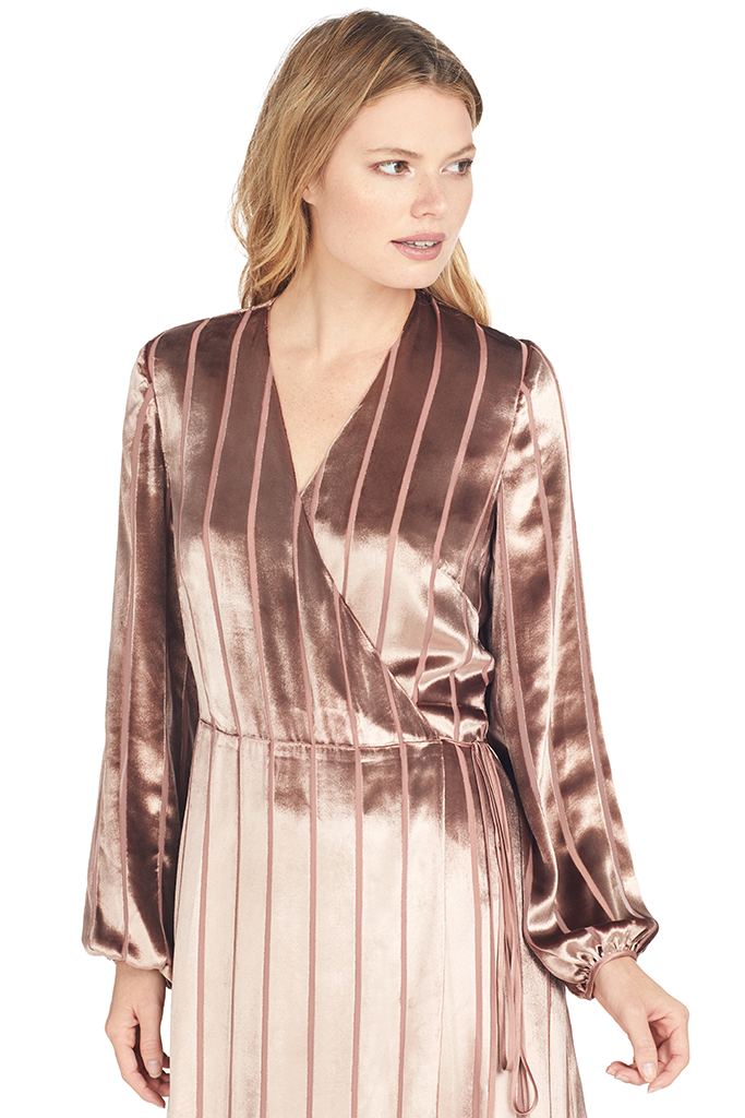 Michelle Mason Long Sleeve Wrap Dress