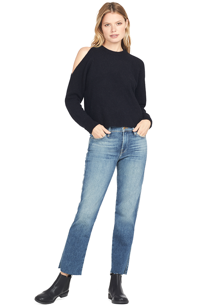 Alpaca Wool Cold Shoulder Sweater (Black)