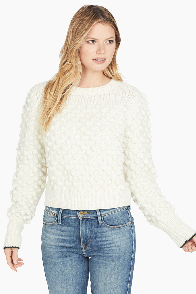 Womens Pom pom sweater ivory