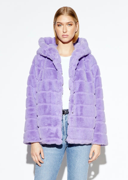 Goldie Faux Fur Jacket with hood - Lavender