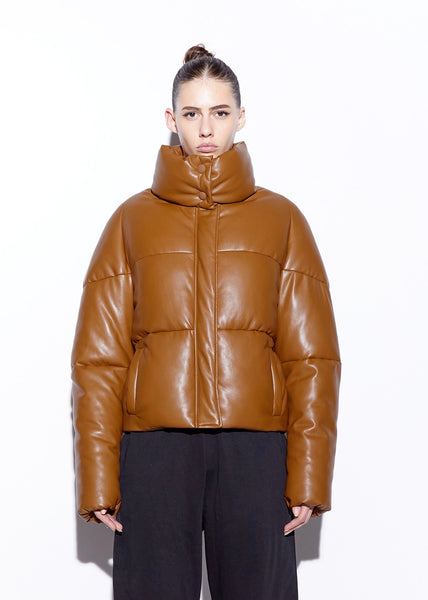 Jemma Vegan Leather Puffer - Camel