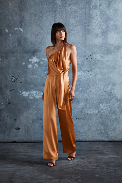 Apricot Silk Charmeuse Wide Leg Trouser