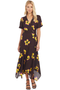 A.L.C. Claire Dress Chocolate Yellow Flower