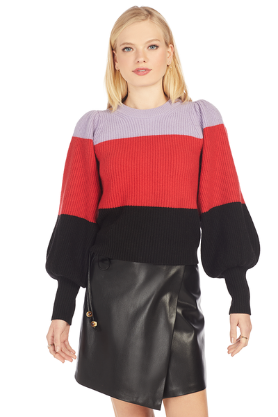 Sammy Sweater - Wisteria/Red/Black