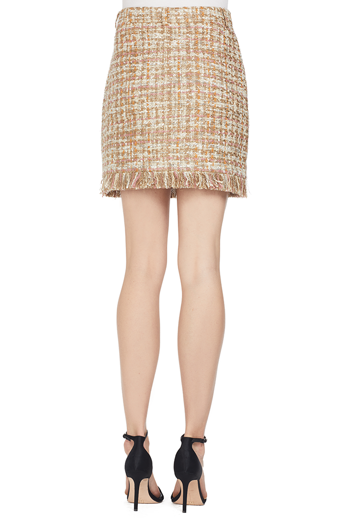 AMUR Tweed Skirt With Fringe Detail Tan