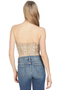 AMUR Tweed Bustier with Bow Fringe Tan
