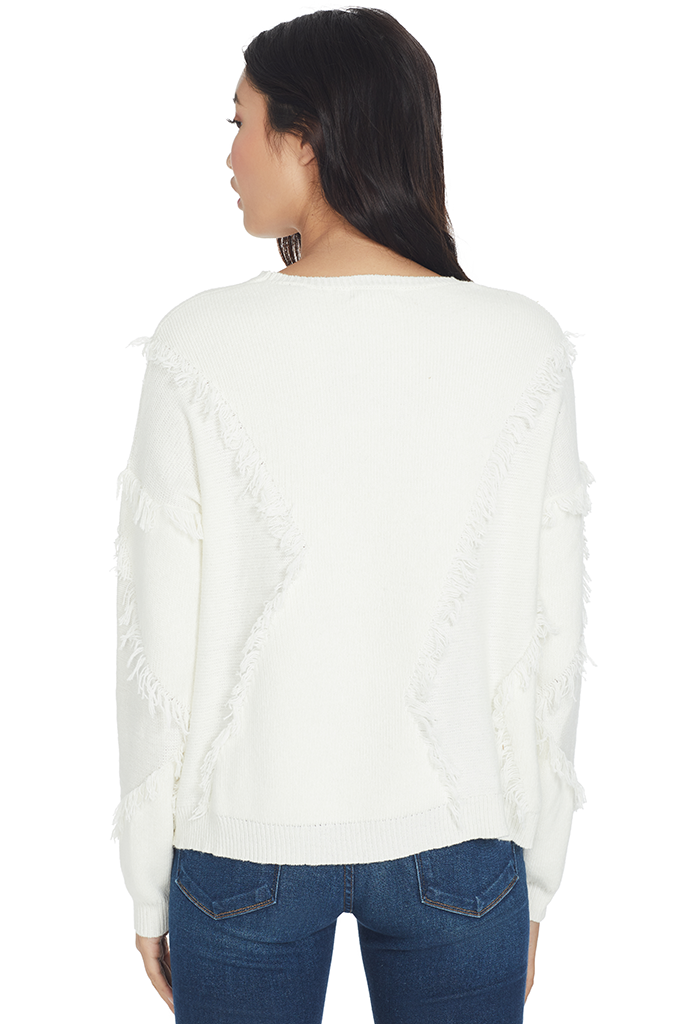 Merino Wool Fringe Sweater (Chalk)