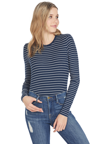 ATM Modal Rib Striped L/S Crew Deep Ocean/Chalk
