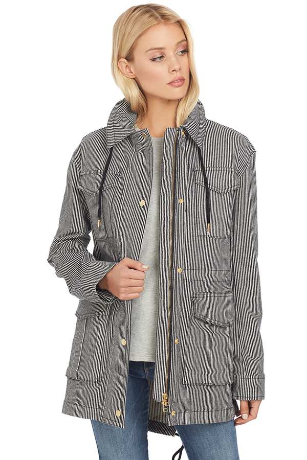 ATM Railroad Stripe Field Jacket (Indigo/White Stripe)