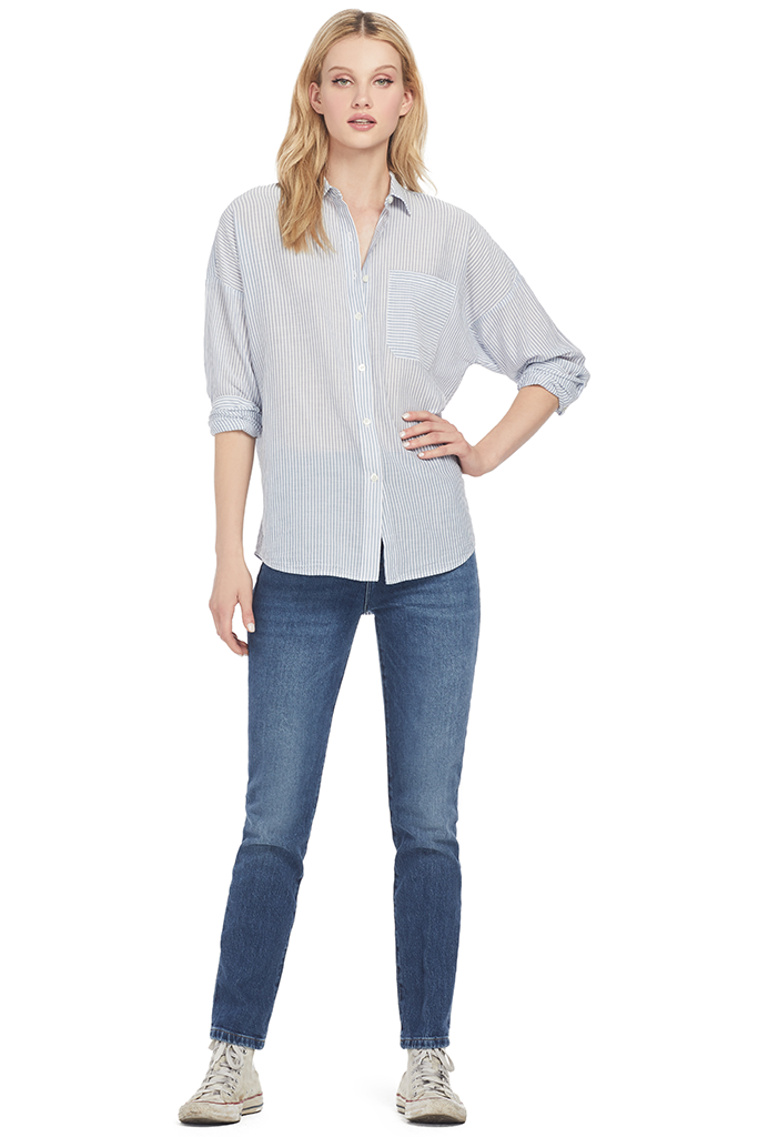 Railroad Stripe Bf Shirt (Indigo)
