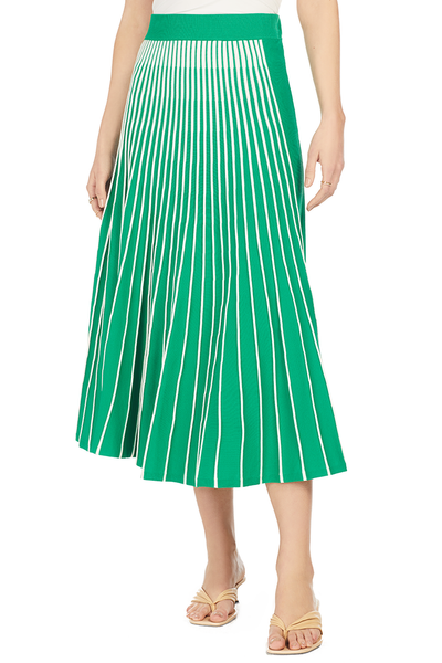 Vani Pleated Skirt - Green/White Stripes