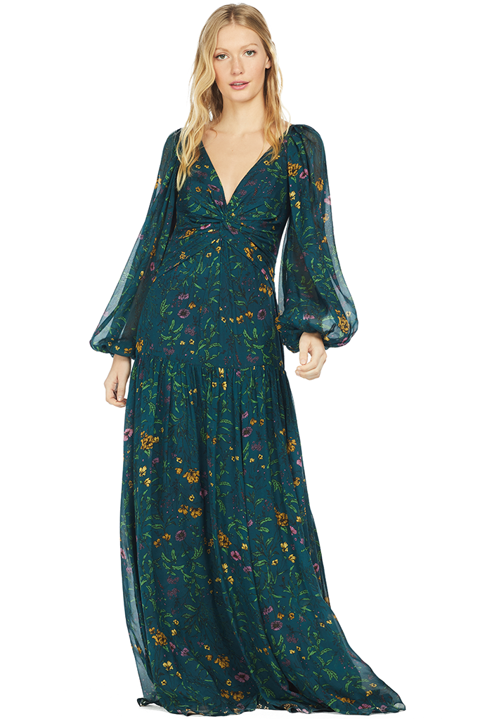 Amur Balloon Sleeve Chiffon Maxi Gown (Teal Multi)