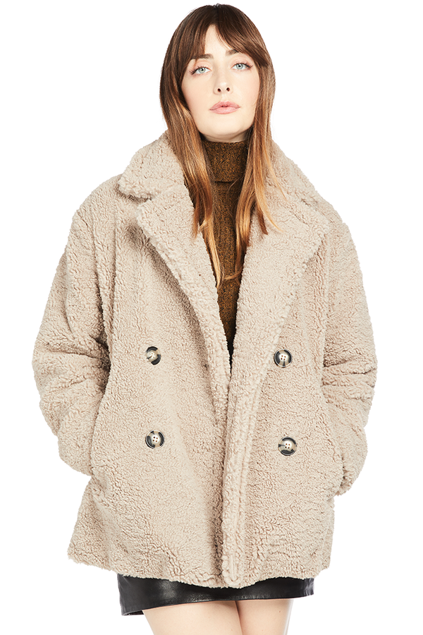 APPARIS Mocha Faux Shearling Pea Coat