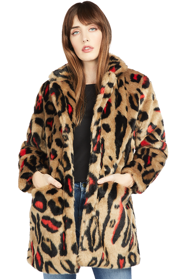 Apparis Red Leopard Faux Fur Coat