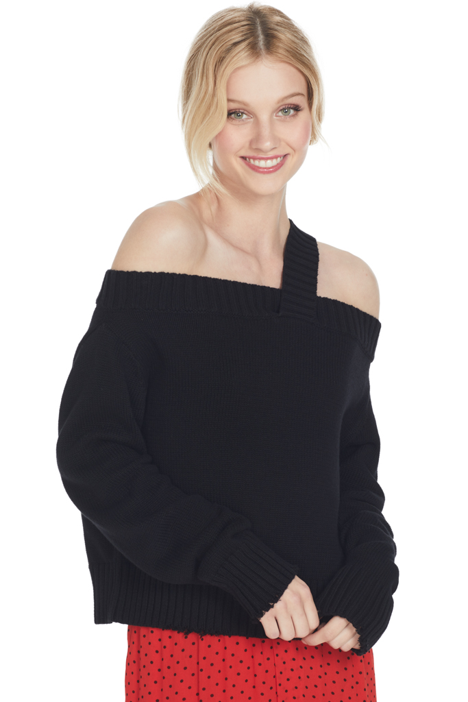 Beckett Off Shoulder Swtr Uno Black
