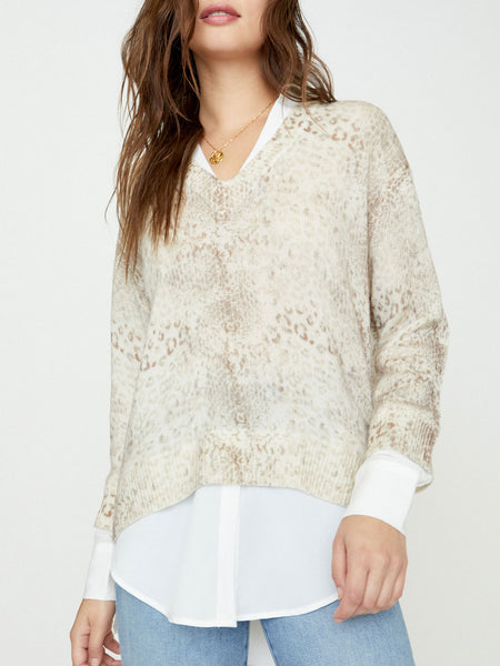 Printed V Neck Layered Pullover - Moremi Combo