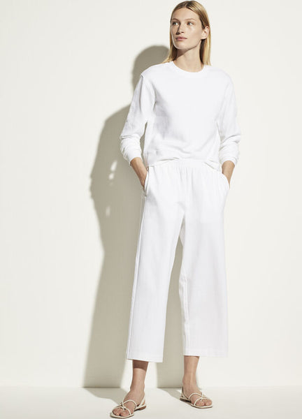 Cropped Wide Leg Pants - Optic White