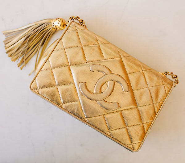 Chanel Metallic Gold Lambskin Vintage Quilted Bag